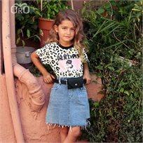 חולצת Oro לילדות (מידות 2-7 שנים) מנומרת צהוב