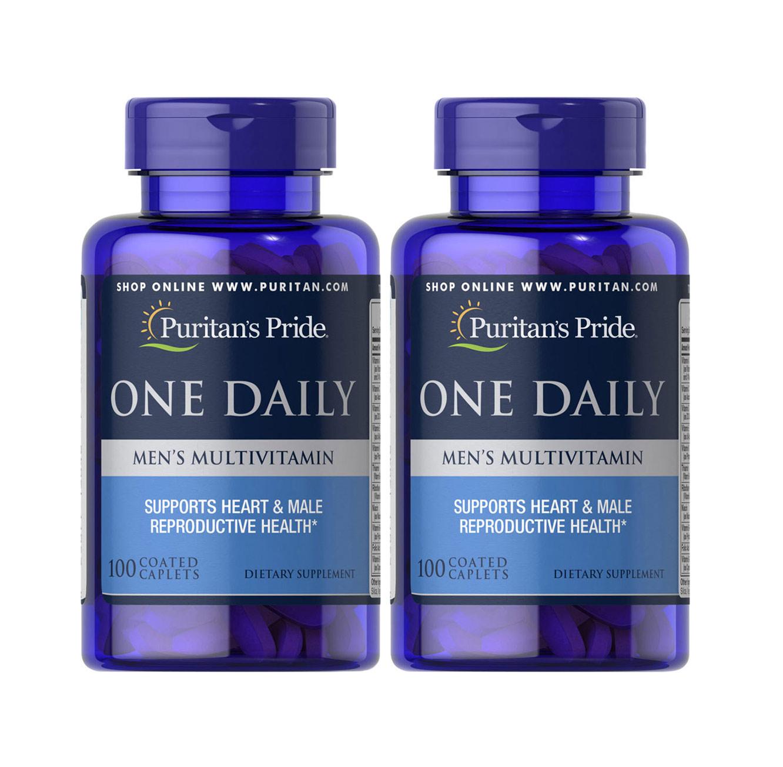 """2 חפיסות מולטי-ויטמין יומיומי לגברים תוצרת Puritan's Pride ארה""""ב - 200 קפליות"""