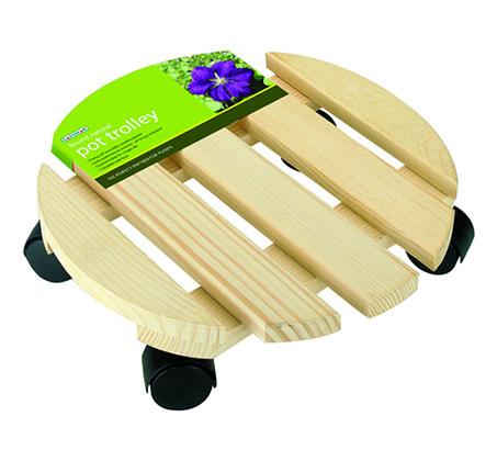 מעמד-סטנד עגול עם גלגלים לעציצים עשוי עץ