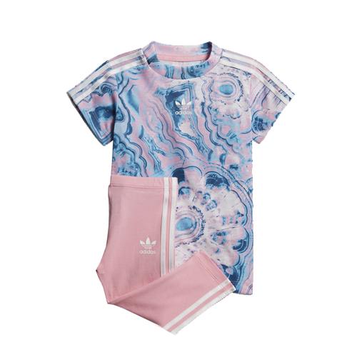חליפת Adidas לילדות (מידות 3 חודשים -4 שנים) - כחול ורוד