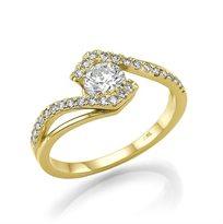 """טבעת אירוסין זהב צהוב """"טארה"""" 0.85 קראט נוצצת ובעלת ברק"""