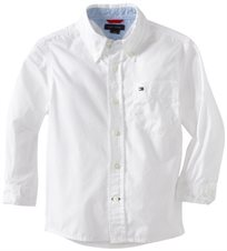 TOMMY HILFIGER / טומי הילפיגר חולצה מכופתרת בנים לבן (6-14 שנים)