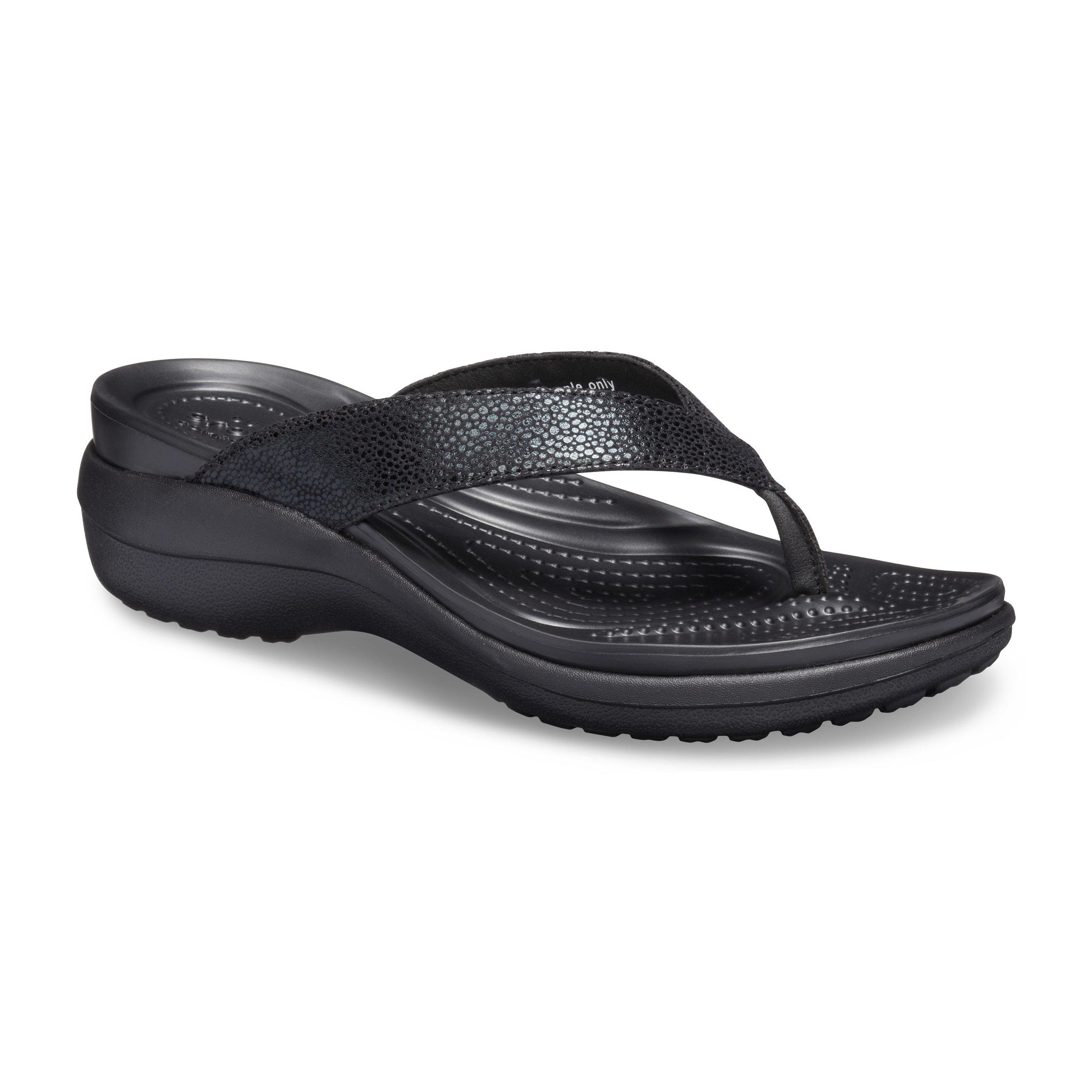 Crocs Capri Metallictxt Wedge Flip - כפכפי אצבע עם טקסטורה מטאלית בצבע שחור