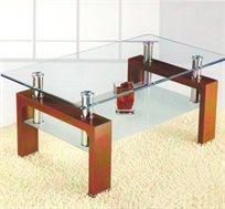 בין גוונים! שולחן סלון GAROX דגם Hugo, בעיצוב מודרני וצעיר המשלב גוון ניקל ועץ אגוז - משלוח חינם