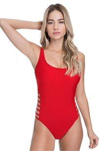 בגד-ים שלם בייסיק רצועות Pilpel לנשים בצבע אדום