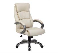 כיסא מנהלים אורטופדי מתכוונן מרופד דמוי עור בשילוב כרום
