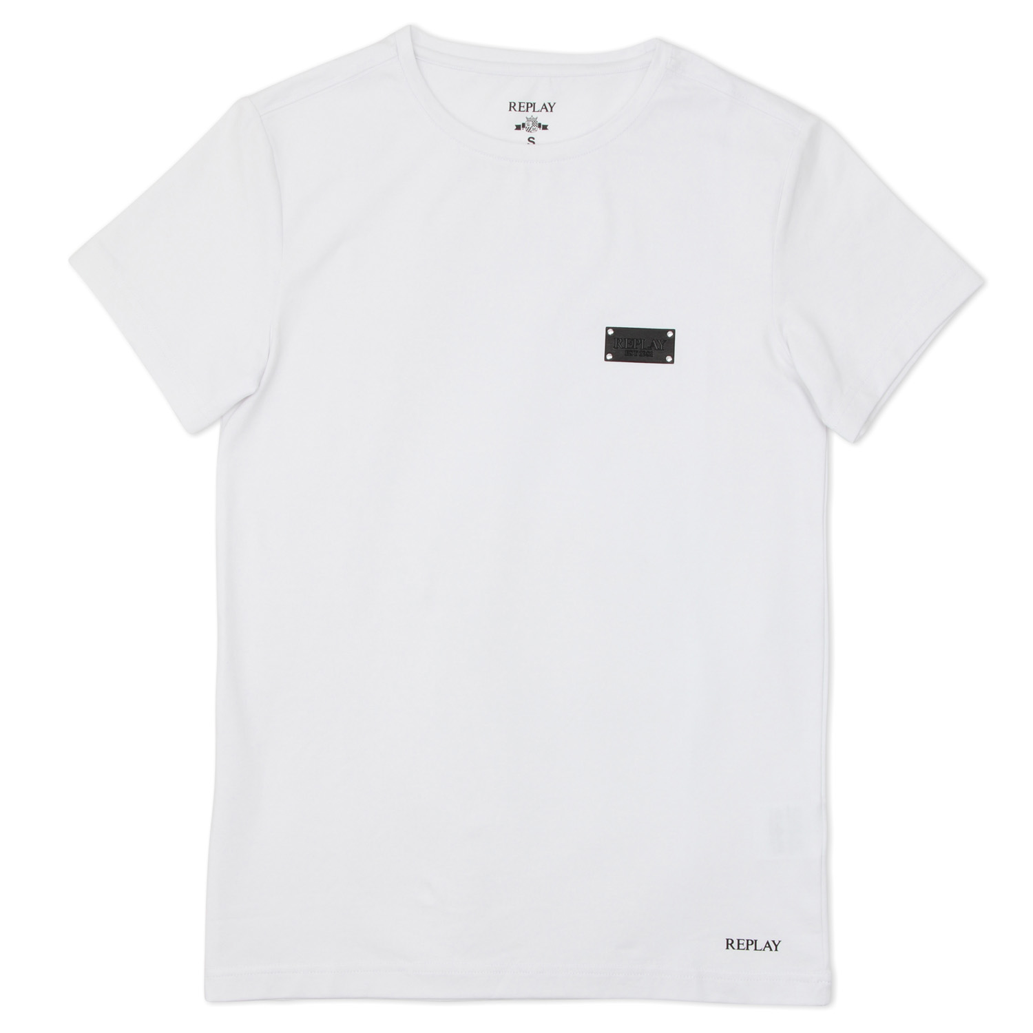 Replay גברים // Crew Neck T Shirt White/Black