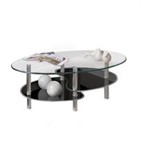 שולחן סלון דו קומתי מעוצב בסגנון מודרני המשלב זכוכית וניקל דגם  LUNA