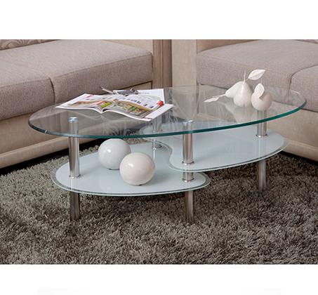 מסודר שולחן סלון דו קומתי מעוצב בסגנון מודרני המשלב זכוכית וניקל, בעל JC-92