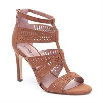 Seventy Nine - סנדל עקב לנשים עם רצועות מחוררות בצבע חום אגוז
