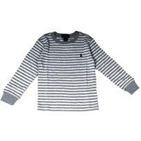 RALPH LAUREN / ראלף לורן (6 שנים) חולצת פיקה פסים - אפור לבן