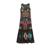 שמלת מקסי עם הדפסים אתניים לנשים דגם NICOLE - צבעוני