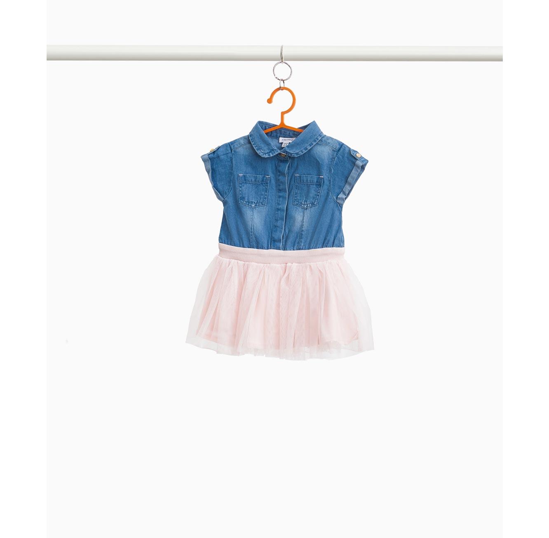 שמלת ג'ינס OVS עם חצאית טול לילדות - כחול ורוד