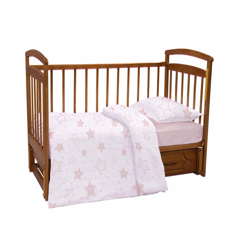 מצעים למיטת תינוק 100% כותנה סאטן כוכבים ורוד