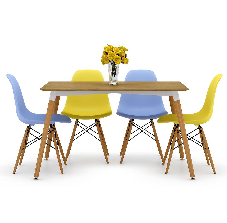 פינת אוכל מעוצבת הכוללת שולחן ו-4 כסאות בצבעים לבחירה