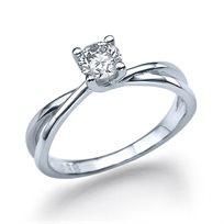 """טבעת יהלומים """"מילה"""" 0.41 קראט בעיצוב טוויסט"""