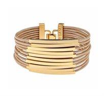 צמיד צינורות מלבנים בציפוי זהב 24 קראט עם עור בצבע טופי