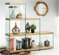כוורת מדורגת דגם מונרו בעיצוב המשלב עץ וזכוכית מסדרת אקווה