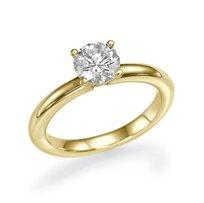 """טבעת אירוסין סוליטר זהב צהוב """"סבינה"""" 0.51 קראט בעיצוב קלאסי"""
