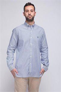 חולצה מכופתרת כחולה לבנה פסים לוגו כחול POLO RALPH LAUREN