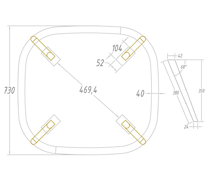 שולחן קפה לסלון מרובע דגם מיסי ביתילי בעל פלטה עליונה בגימור פורניר אלון ורגלי עץ - תמונה 3