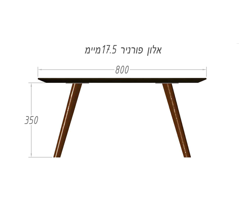שולחן קפה לסלון מרובע דגם מיסי ביתילי בעל פלטה עליונה בגימור פורניר אלון ורגלי עץ - תמונה 2