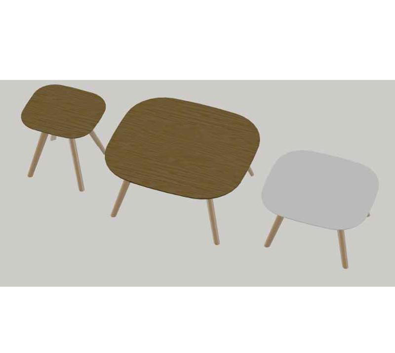 שולחן קפה לסלון מרובע דגם מיסי ביתילי בעל פלטה עליונה בגימור פורניר אלון ורגלי עץ - תמונה 4