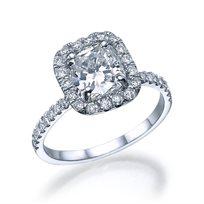 """טבעת יהלום זהב לבן בחיתוך """"קושיין"""" 1.51 קראט"""
