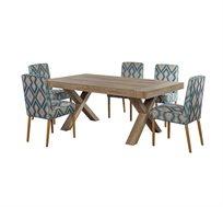 פינת אוכל בעיצוב כפרי ביתילי שולחן עץ מאסיבי ו4 כסאות