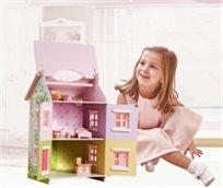 בית בובות תלת קומתי נפתח עם 7 רהיטים - קוטג' האפונה הריחנית Teamson