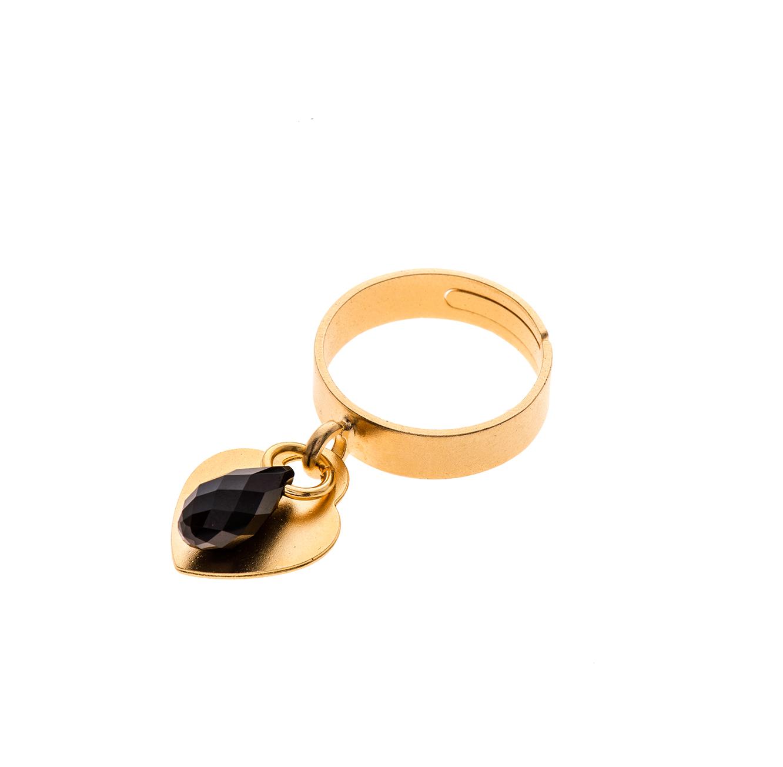 טבעת בציפוי זהב עם אבן סברובסקי שחורה