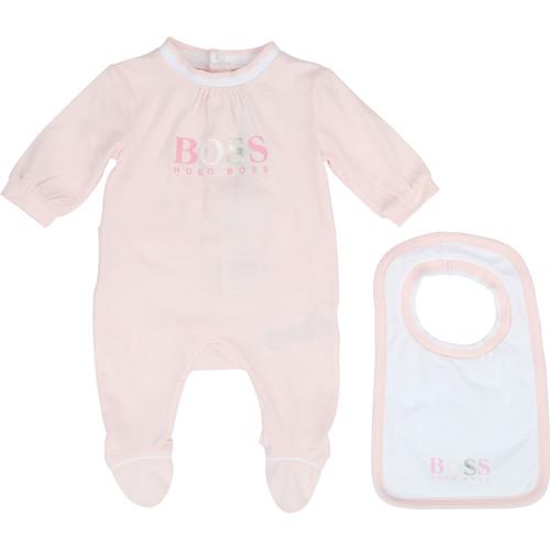 Boss בוס אוברול תינוק (1-3 חודשים) - אוברול ורוד וסינר תואם
