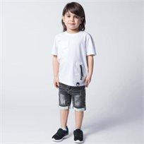 ORO חולצת טוניקה 2 כיסים (7-5 שנים)- לבן