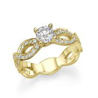 """טבעת אירוסין זהב צהוב """"טינה"""" 1.01 קראט בעיצוב ייחודי"""