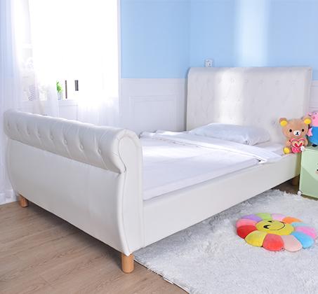 מיטה וחצי/מיטת נוער בשילוב כפתורי קפיטונאז' תואמים דגם נסיכה בצבע שמנת קוקולה - תמונה 4
