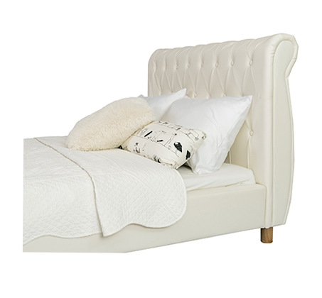 מיטה וחצי/מיטת נוער בשילוב כפתורי קפיטונאז' תואמים דגם נסיכה בצבע שמנת קוקולה - תמונה 3