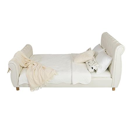 מיטה וחצי/מיטת נוער בשילוב כפתורי קפיטונאז' תואמים דגם נסיכה בצבע שמנת קוקולה - תמונה 2