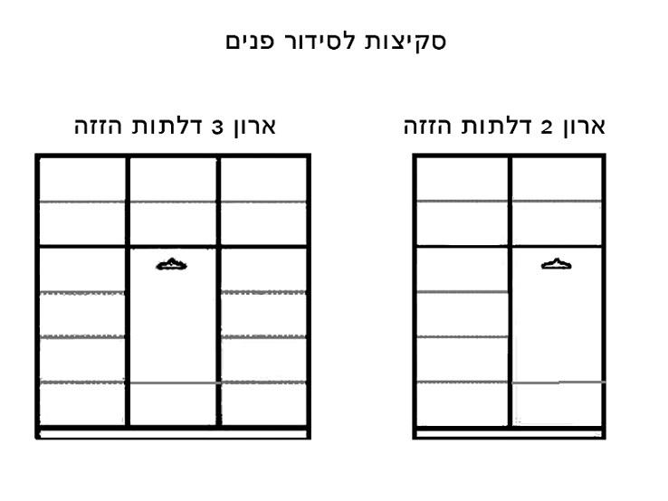 ארון הזזה 2 דלתות טריקה שקטה קרניז עליון ותחתון אלומיניום דגם רן - תמונה 4