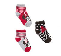 מארז 3 זוגות גרביים קצרים לילדות הדפס מיני מאוס