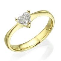 """טבעת אירוסים """"לב"""" 0.47 קראט Vs1 זהב צהוב"""