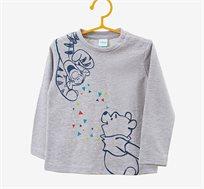 חולצה עם שרוולים ארוכים והדפס פו הדוב לילדים בצבע אפור