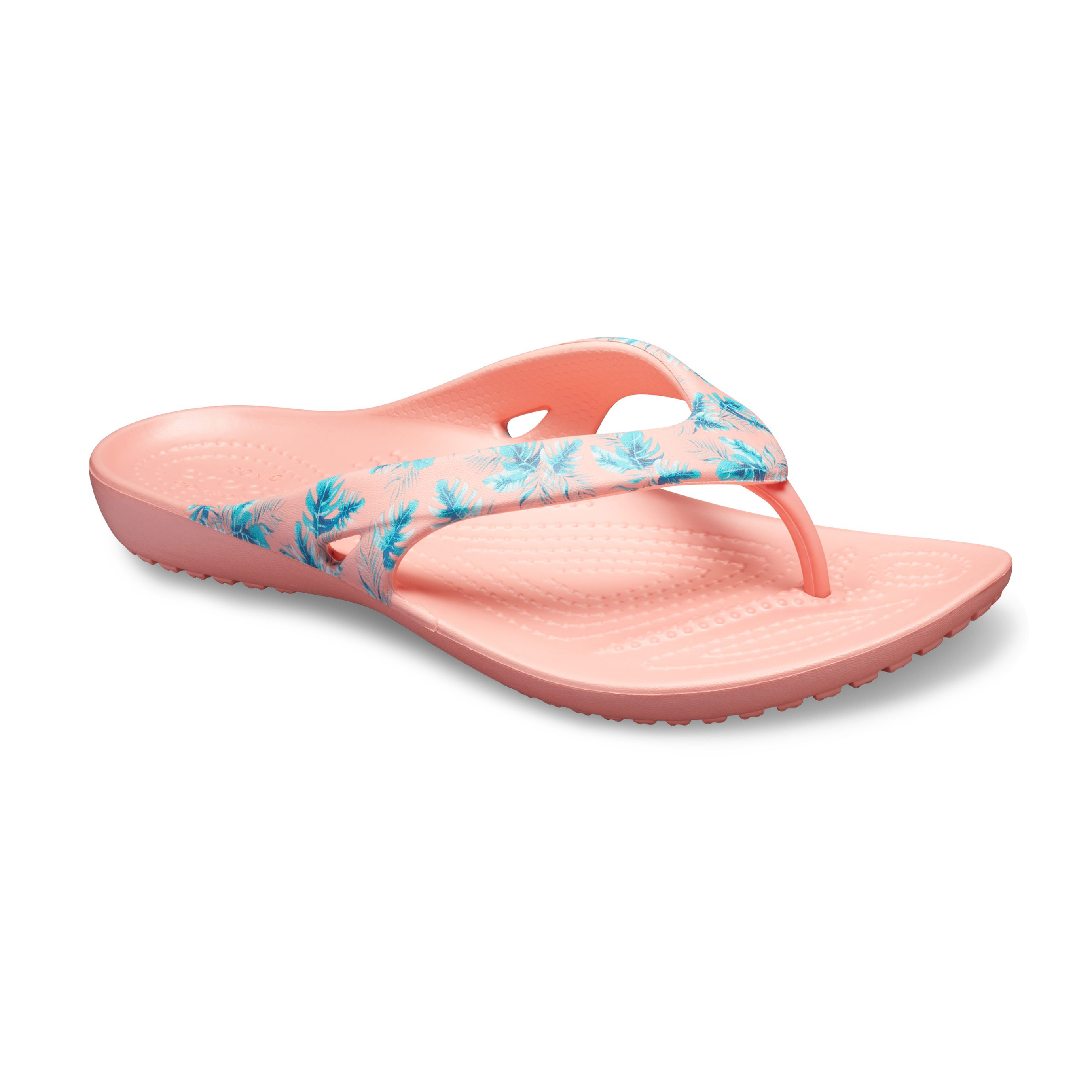 Crocs Kadee Ii Seasonal Flip - כפכף אצבע כתום עם הדפס טרופי