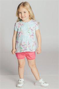 חולצת טריקו קצרה בהדפס פרחוני לבנות Kiwi בצבע מנטה