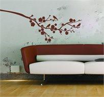 מדבקת קיר - ציוץ באביב, מביאה את הטבע אליכם לסלון או החדר בדוגמת ענף עם ציפורים