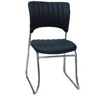 כסא מרופד לחדרי אירוח ומשרדים בריפוד דמוי עור ורגלי ניקל