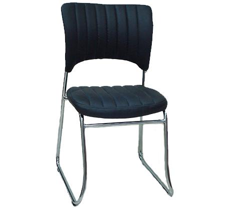 כיסא אורח בריפוד דמוי עור בשילוב ניקל דגם טלי