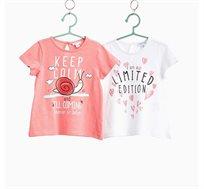 מארז שתי חולצות טי קצרות בייבי בנות עם הדפס בצבעי ורוד/לבן