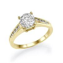 """טבעת אירוסין זהב צהוב סוליטייר """"סטפני"""" 1.75 קראט בשיבוץ יהלום ענק במרכז"""