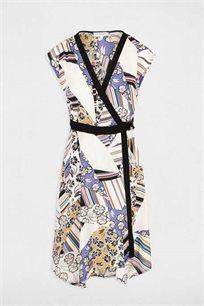 שמלה צבעונית קצרה א-סימטרית MORGAN - הדפס טלאים