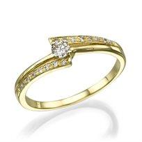 """טבעת אירוסין """"אלבינה"""" זהב צהוב 0.41 קראט יהלומים"""